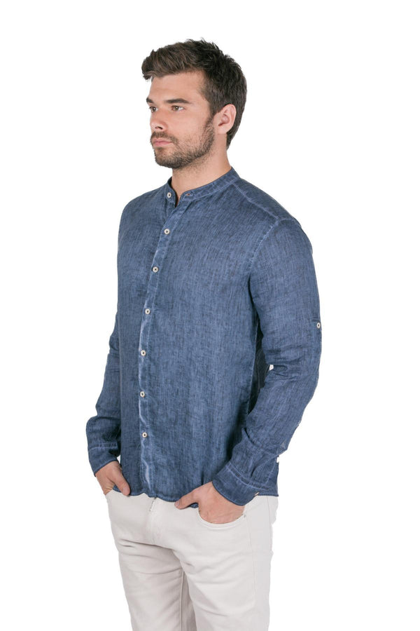 Half-Way Button-up Paneled Linen Shirt - Navy - Ron Tomson