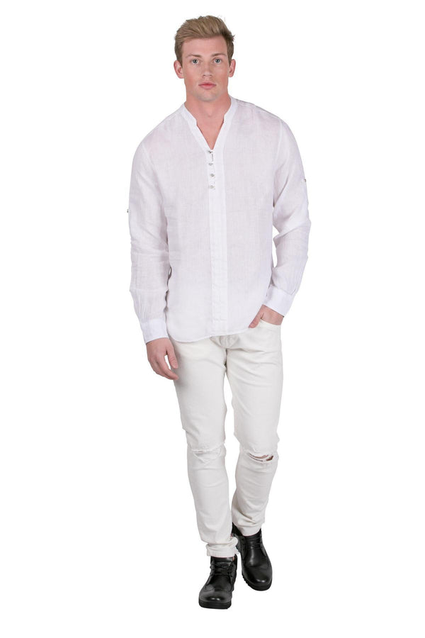 Half-Way Button-up Paneled Linen Shirt - White - Ron Tomson