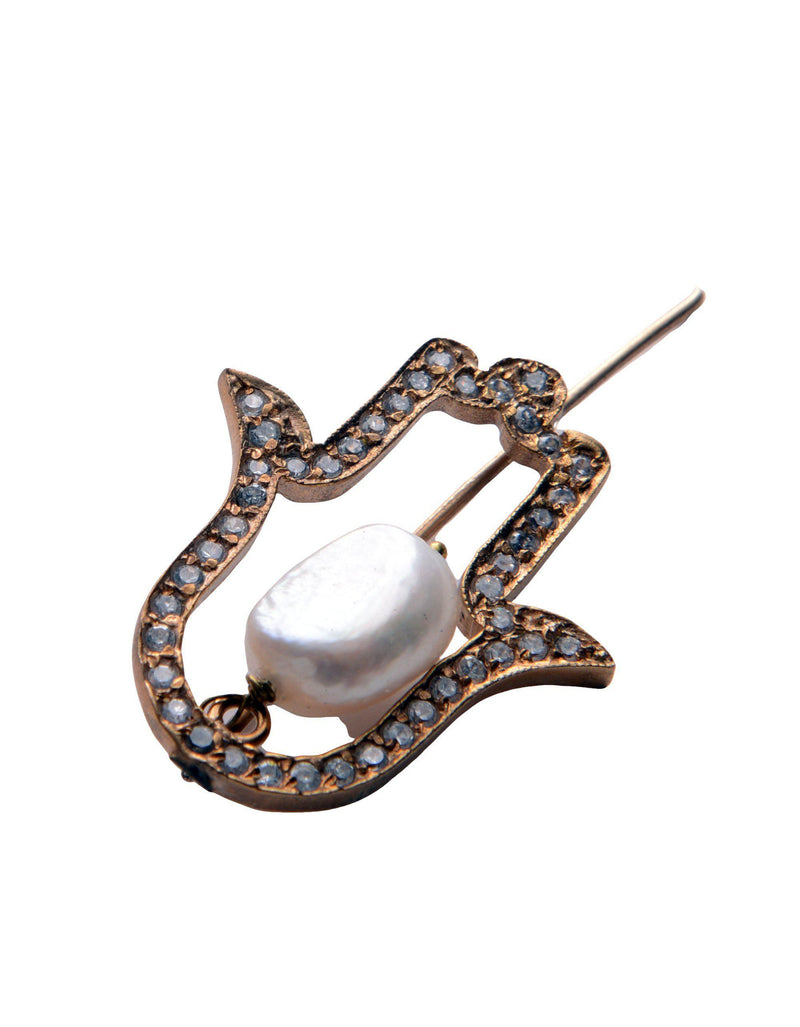 Hamsa and Pearl Pendant Brooch