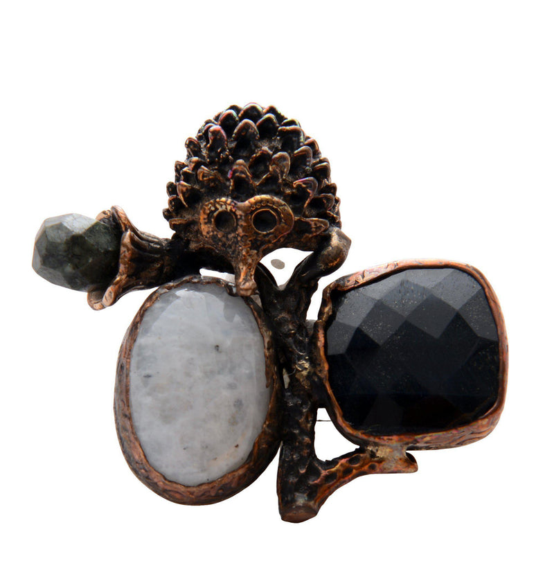 Hérisson and Stones Pendant Brooch