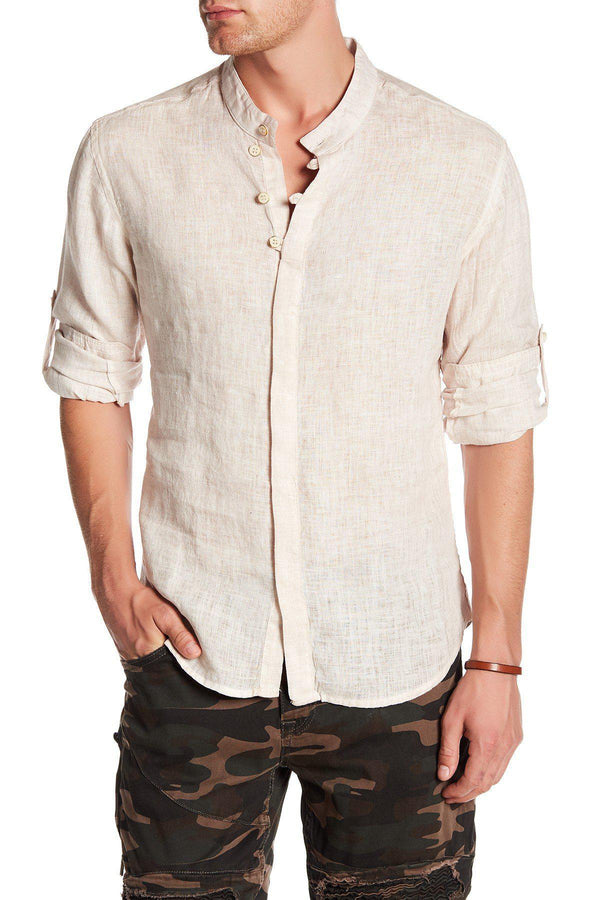 Hidden Placket Linen Shirt - Stone - Ron Tomson
