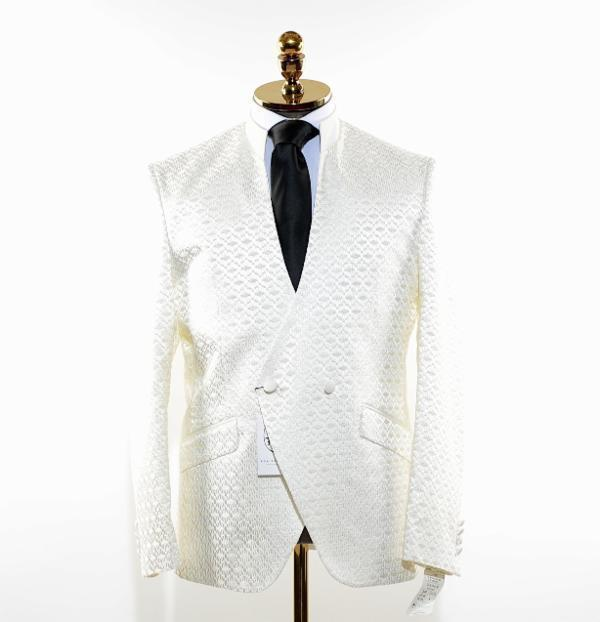 High Collar Symmetric Wrap Tuxedo - White - Ron Tomson