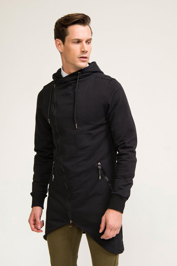 Hooded Asymmetric Cardigan - Black - Ron Tomson