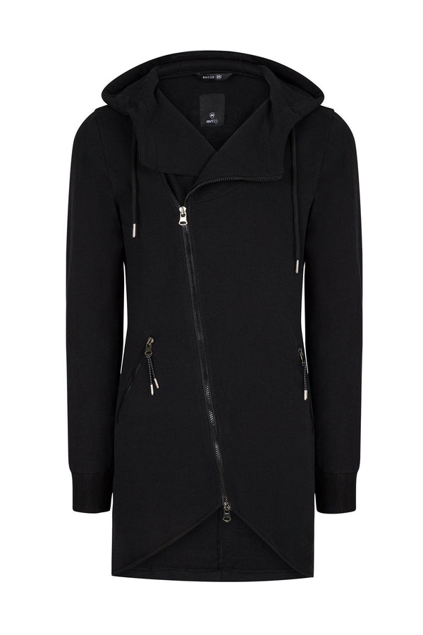 Hooded Asymmetric Cardigan - Black
