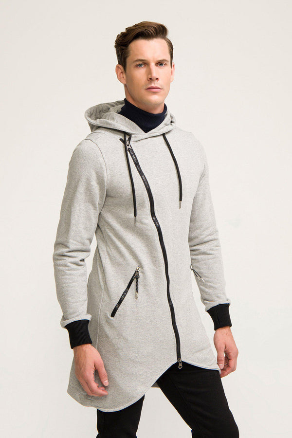 Hooded Asymmetric Cardigan - Grey