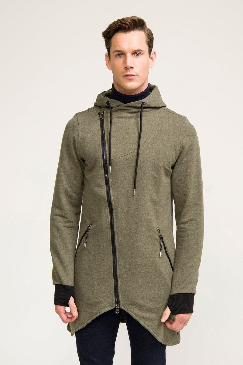 Hooded Asymmetric Cardigan - Khaki - Ron Tomson