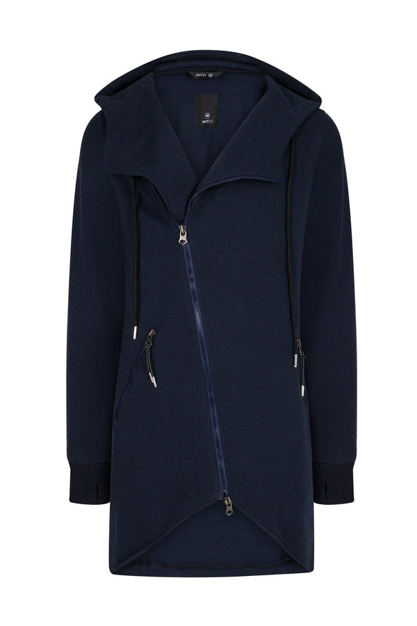 Hooded Asymmetric Cardigan - Navy