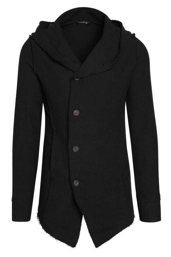Hooded Asymmetric Closure Raw Cardigan - Black