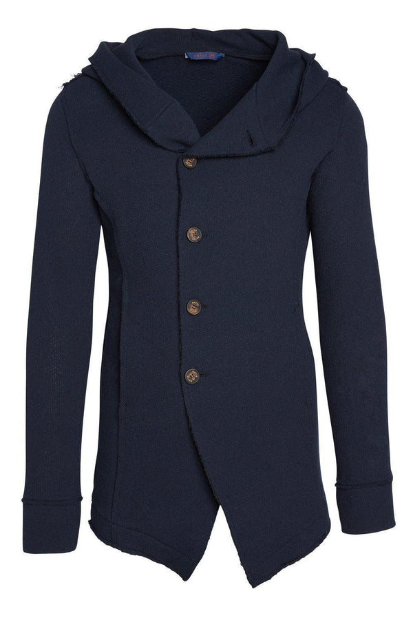 Hooded Asymmetric Closure Raw Cardigan - Navy