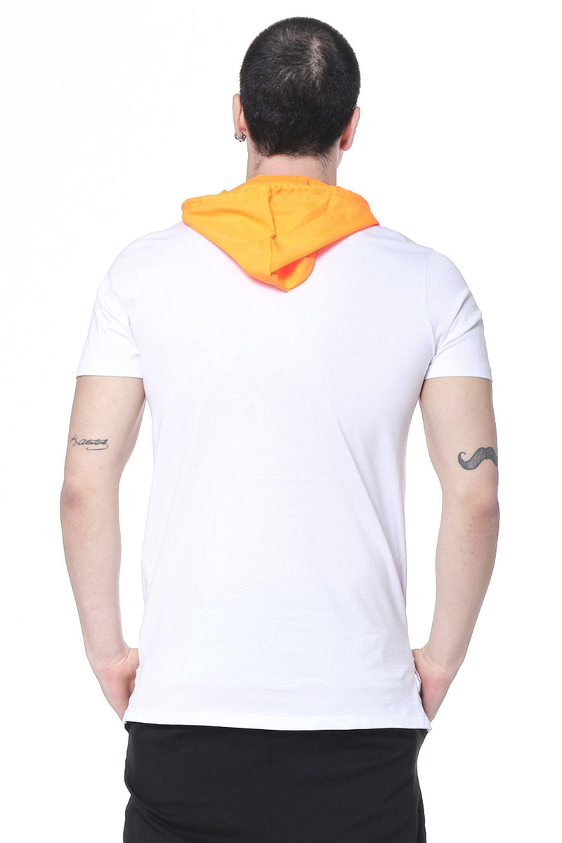 Hooded Exploration Drawstring Tee - White Orange - Ron Tomson