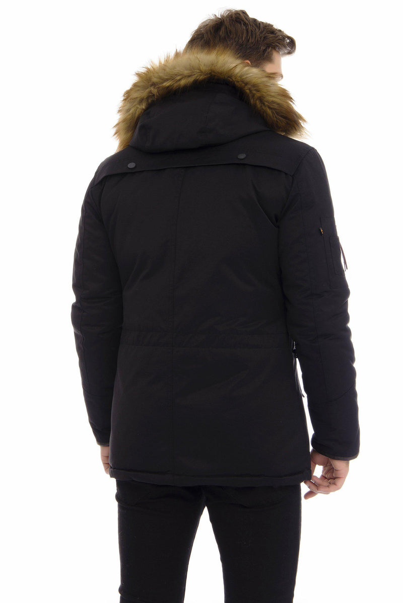 Hooded Fur Sports Utility Overcoat - More Colors-Outerwear-Ron Tomson-BLACK-M-Ron Tomson
