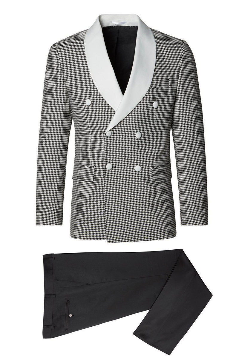 Houndstooth Double Breasted Tuxedo - Beige Black 1 - Ron Tomson