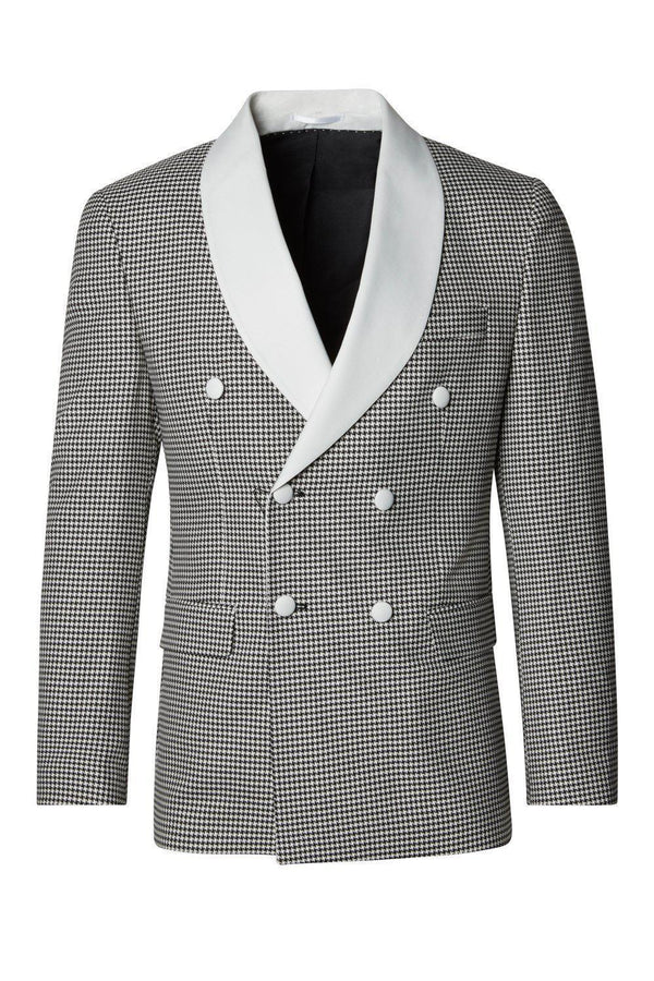 Houndstooth Double Breasted Tuxedo - Beige Black