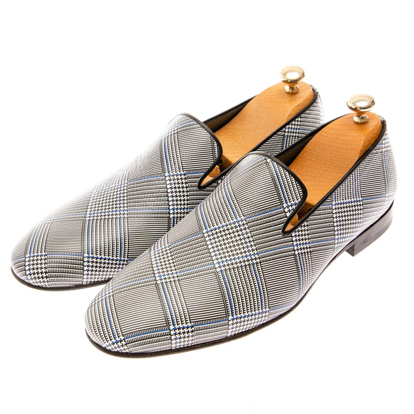Houndstooth Pattern Loafer - Grey