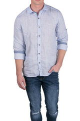 Italian Collar Fitted Button Down Linen Shirt - Blue - Ron Tomson