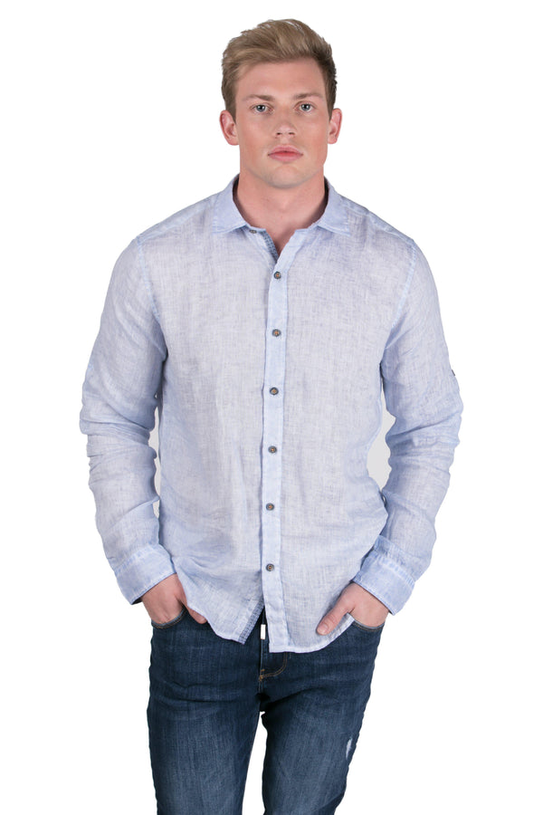 Italian Collar Fitted Button Down Linen Shirt-Shirts-RON TOMSON-BLUE-S-Ron Tomson