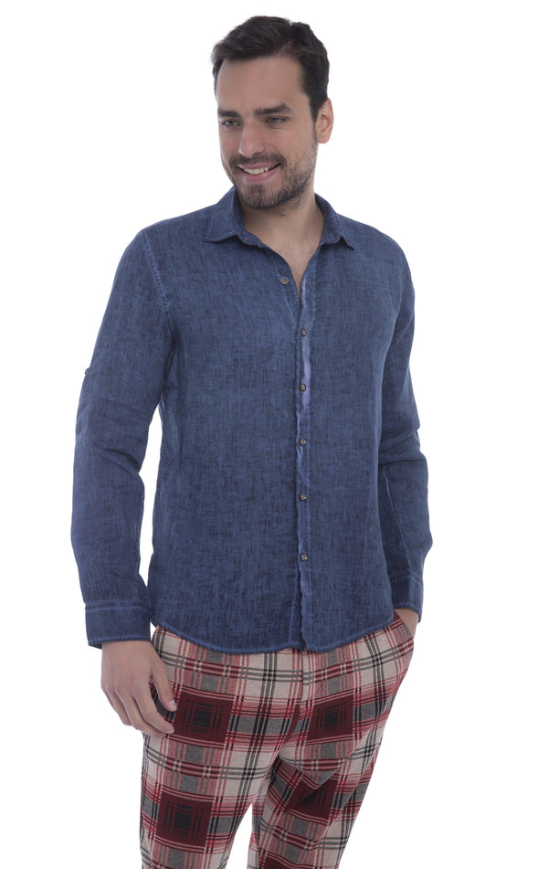 Italian Collar Fitted Button Down Linen Shirt - Navy