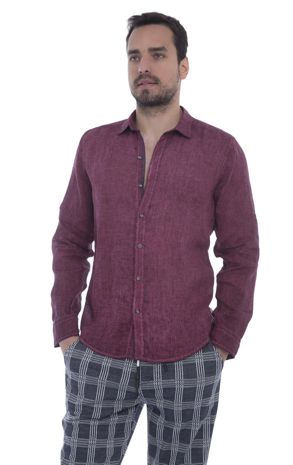 Italian Collar Fitted Button Down Linen Shirt - Wine