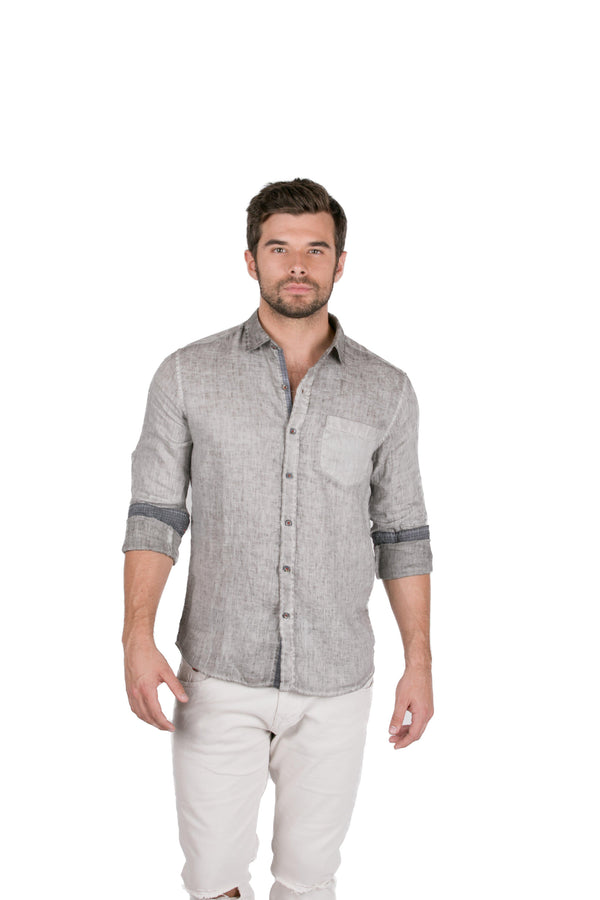 Italian Collared Chest Pocket Linen Shirt - Anthracite - Ron Tomson