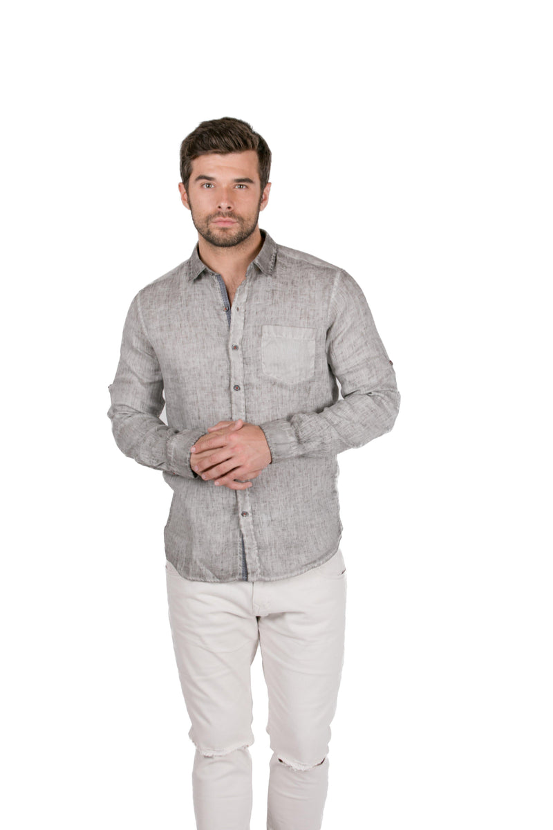 Italian Collared Chest Pocket Linen Shirt-Shirts-RON TOMSON-ANTRASIT-S-Ron Tomson