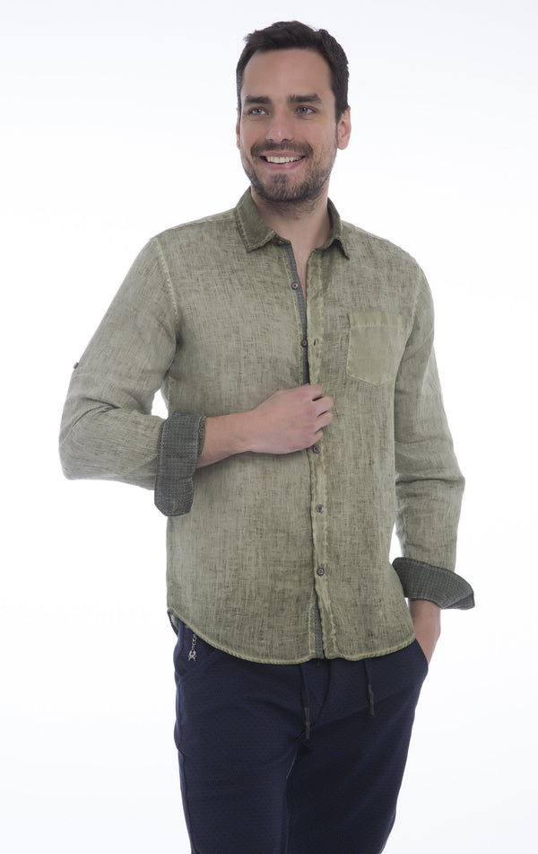 Italian Collared Chest Pocket Linen Shirt - Khaki - Ron Tomson