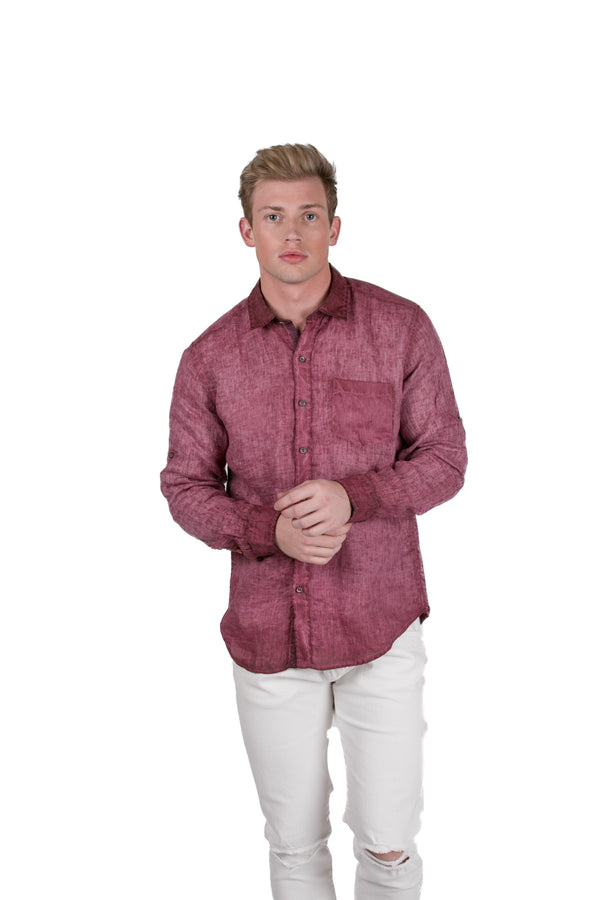 Italian Collared Chest Pocket Linen Shirt - Wine - Ron Tomson