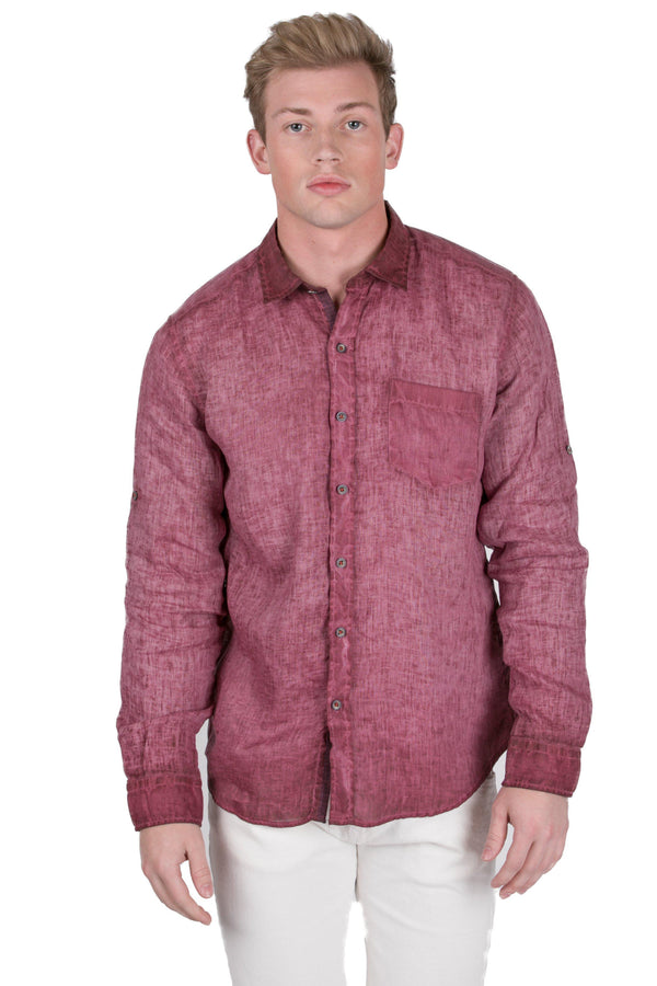 Italian Collared Chest Pocket Linen Shirt-Shirts-RON TOMSON-WINE-S-Ron Tomson