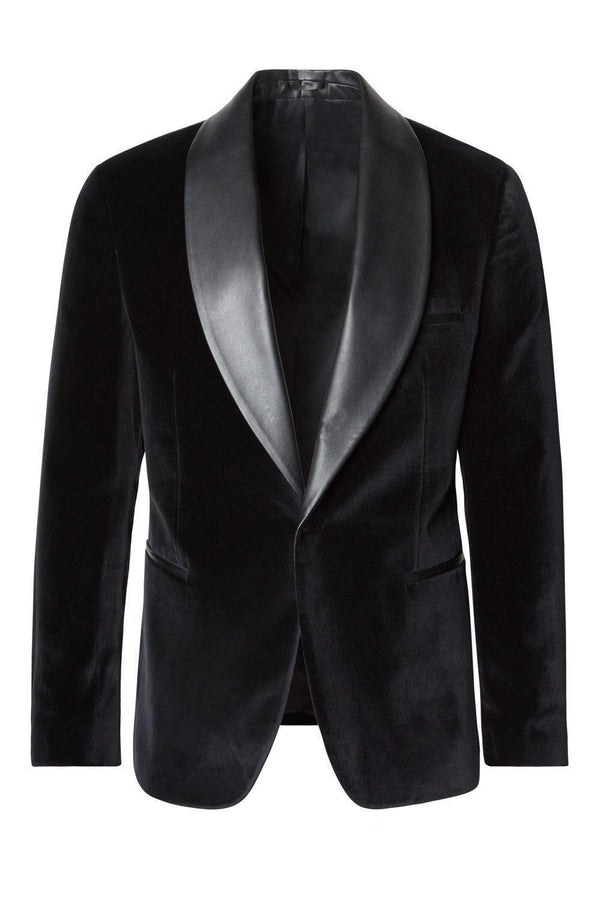Italian Velvet Leather Shawl Lapel Tuxedo - Black - Ron Tomson