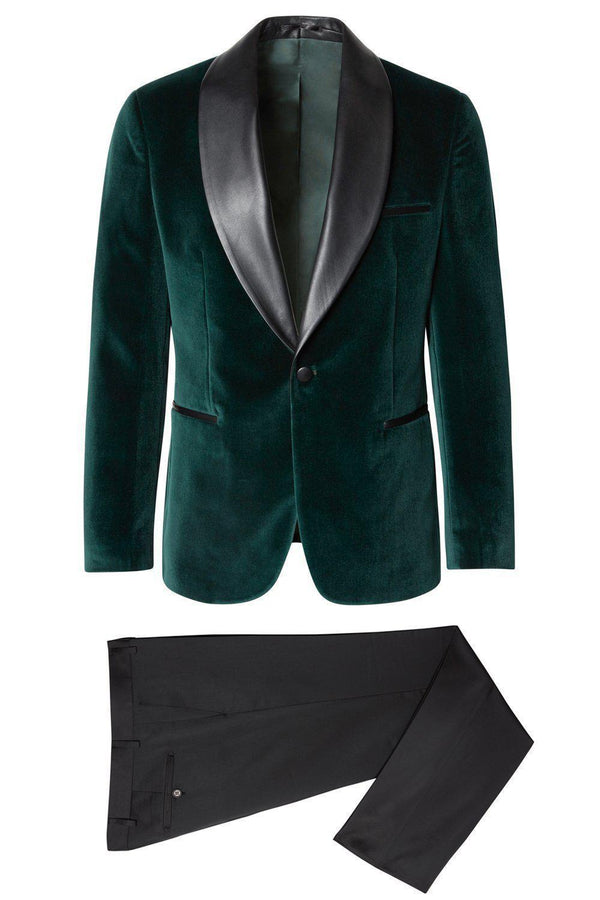 Italian Velvet Leather Shawl Lapel Tuxedo - Green - Ron Tomson