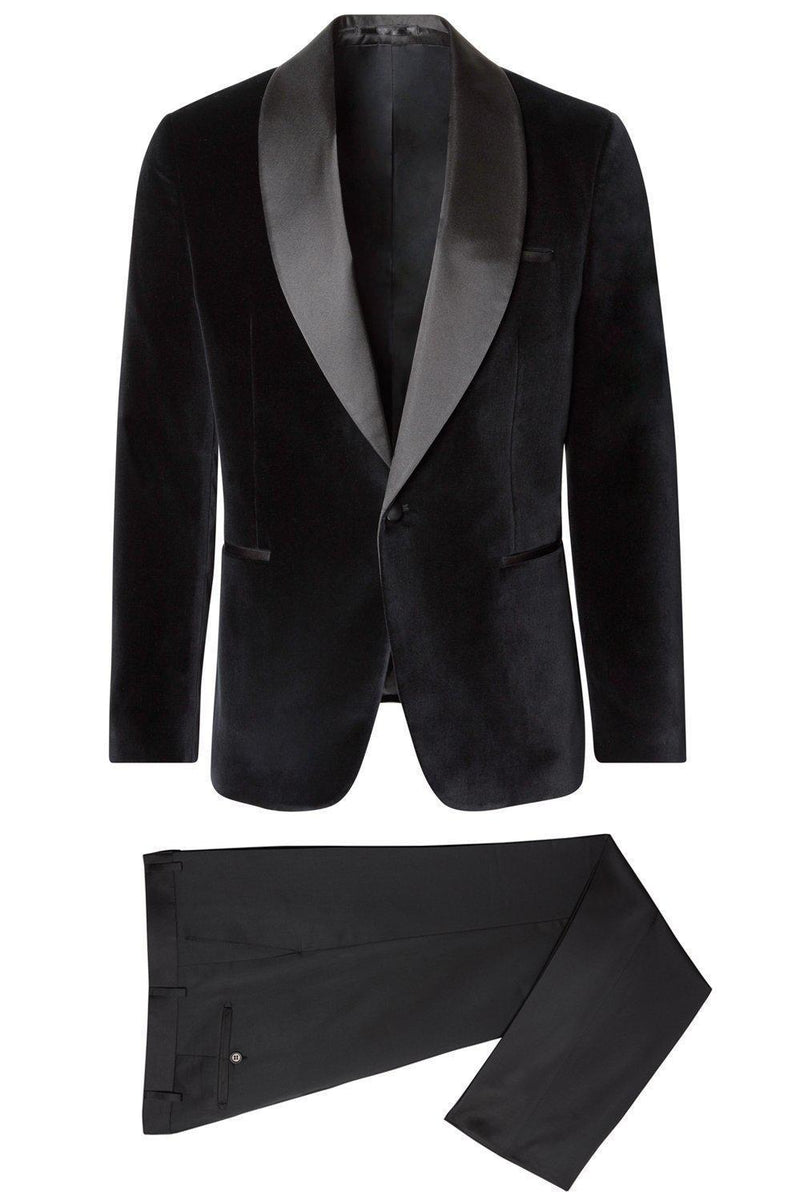 Italian Velvet Satin Shawl Lapel Tuxedo - Black - Ron Tomson