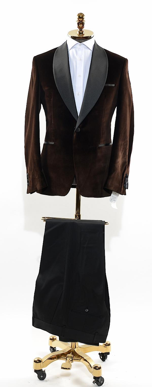 Italian Velvet Satin Shawl Lapel Tuxedo - Brown - Ron Tomson