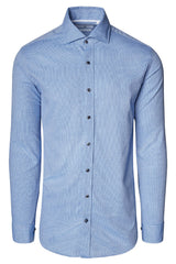 Jacquard Cotton Tonal Button Dress Shirt - Blue - Ron Tomson