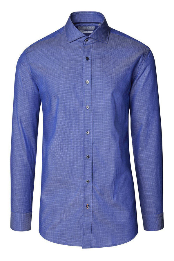 Jacquard Cotton Tonal Button Dress Shirt - Dark Blue - Ron Tomson