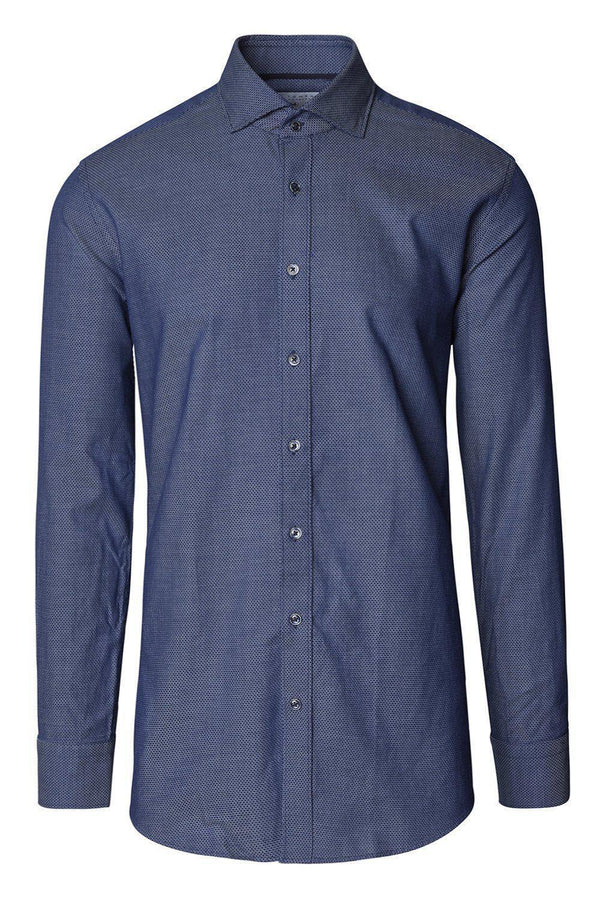 Jacquard Cotton Tonal Button Dress Shirt - Navy