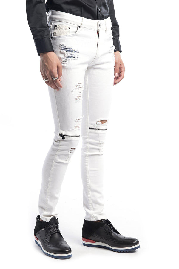 Knee Zip Distressed Jeans - More Colors-Jeans-Ron Tomson-WHITE BLACK-29-Ron Tomson