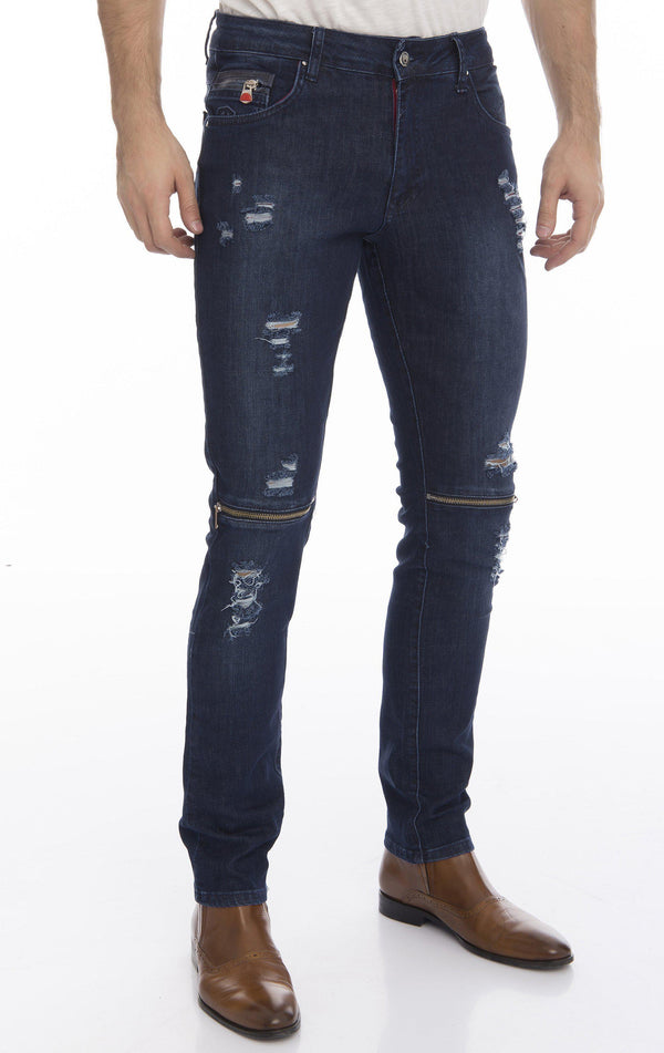 Knee Zip Fitted Washed Jeans - Navy Silver