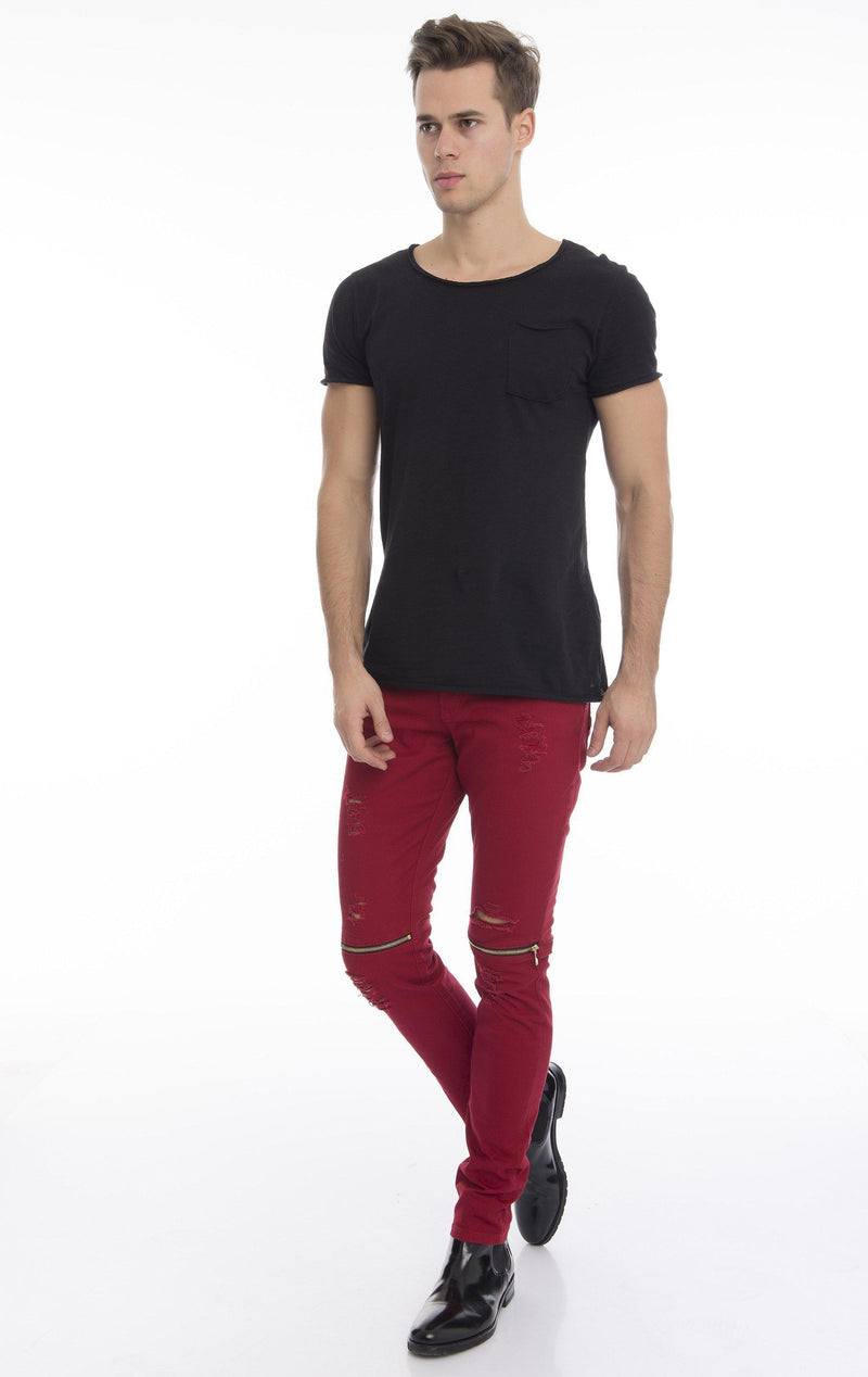 Knee Zip Fitted Washed  Jeans - Red Gold - Ron Tomson
