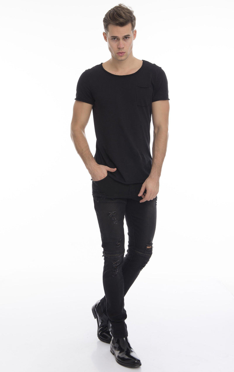 Knee Zip Fitted Washed Tapered Jeans - Black Black - Ron Tomson