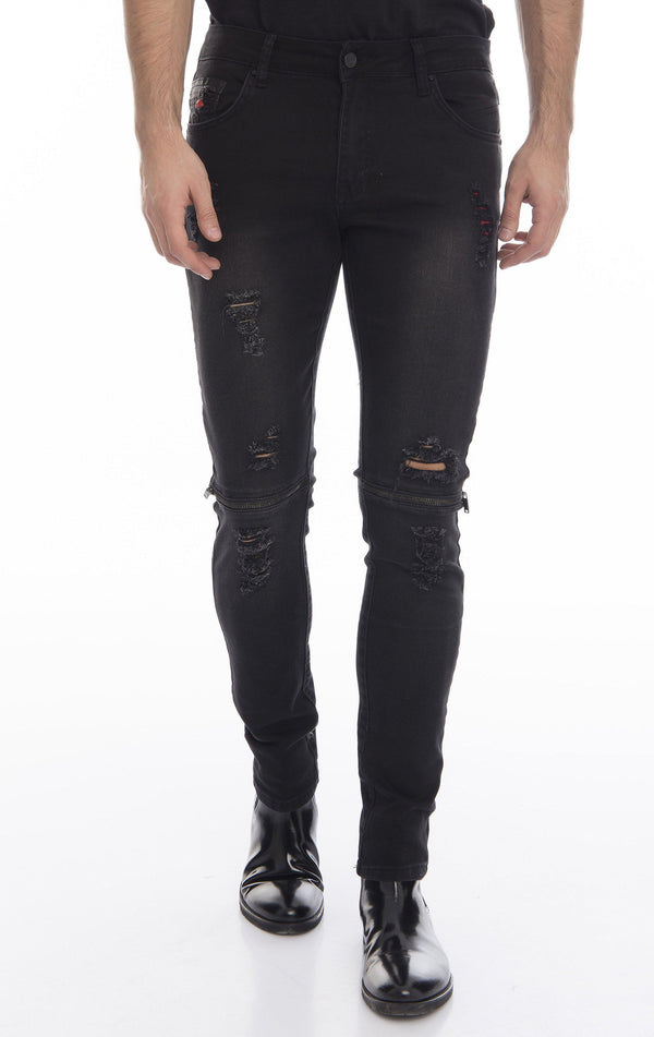 Knee Zip Fitted Washed Tapered Jeans - Black Black