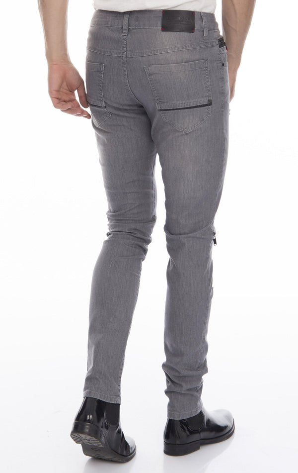 Knee Zip Fitted Washed Tapered Jeans - Grey Black