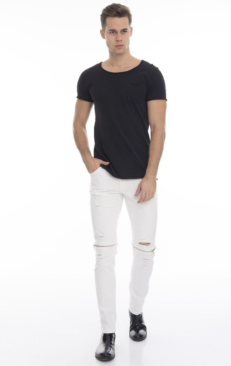 Knee Zip Fitted Washed Tapered Jeans - White Silver