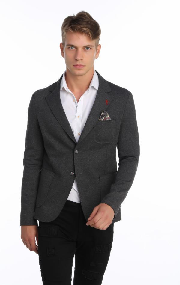 Laser Cut Fitted Casual Jacket - ANTHRACITE