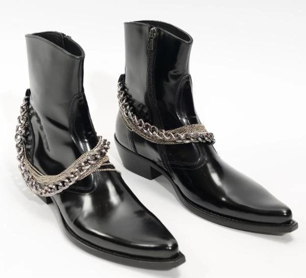 LAYERED-CHAIN LEATHER BOOTS