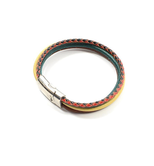Layered Leather Magnet Bracelet