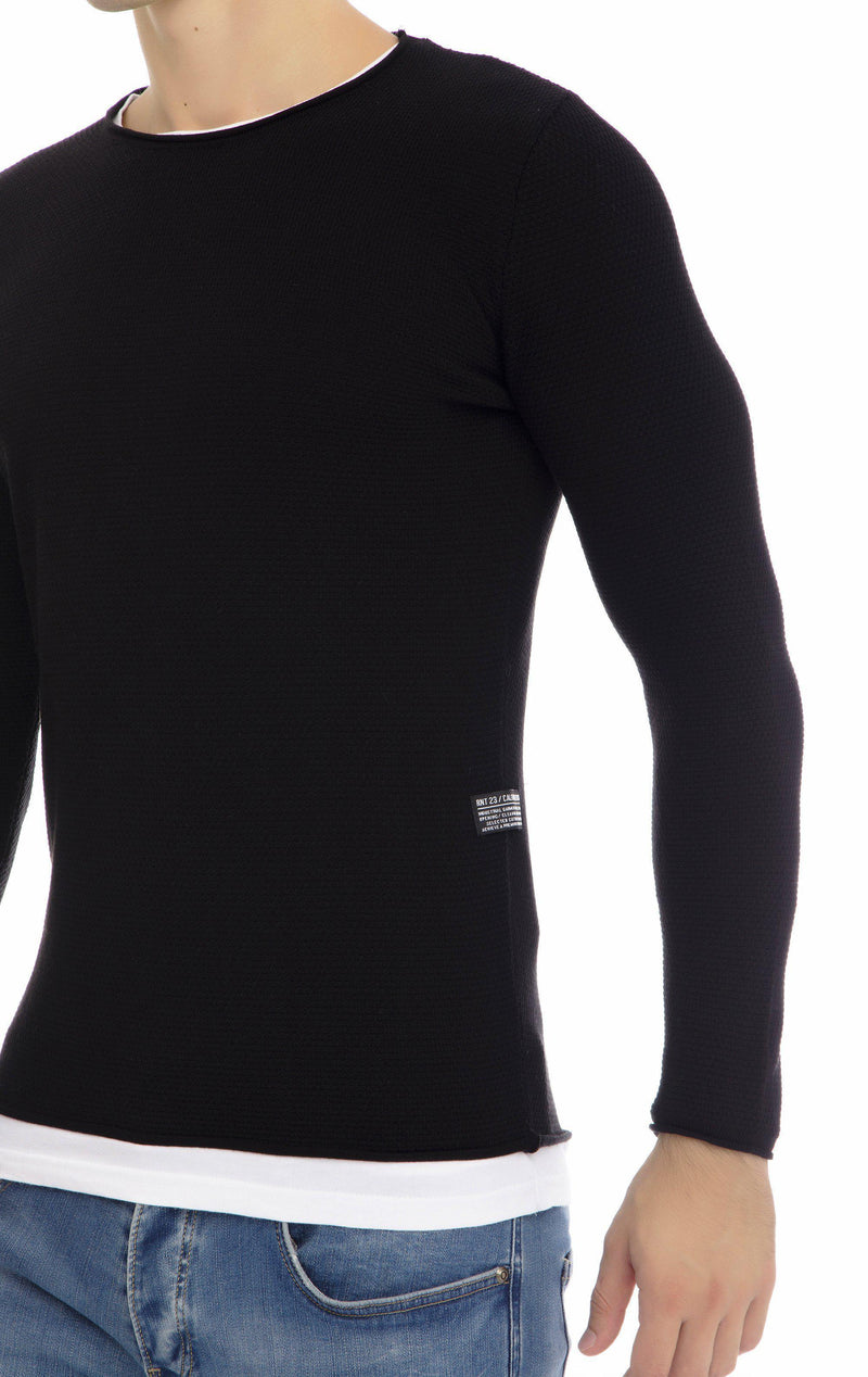 Layered Lightweight Long Sweater - Black - Ron Tomson