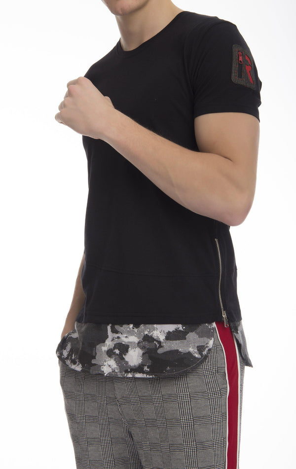 Layered Long Fitted Cotton T-shirt-T-shirts-Ron Tomson-BLACK-S-Ron Tomson