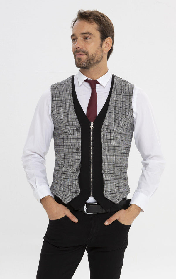 Layered Look Lightweight Vest - Black 1