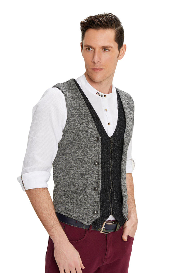 Layered Look Slim Fit Zip Vest - Anthracite - Ron Tomson