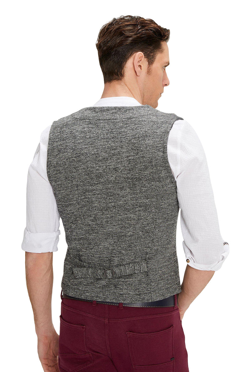 Layered Look Slim Fit Zip Vest - Anthracite