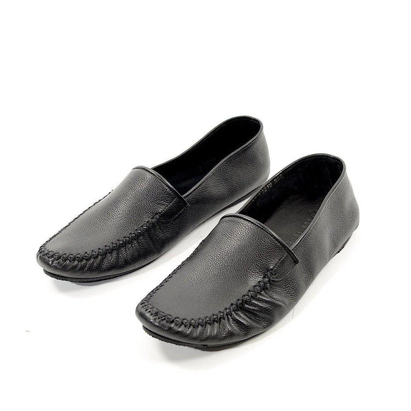 Leather Car Shoe - Black - Ron Tomson